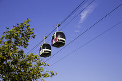 Two cable cars in motion in the air with Royalty Free Stock Image