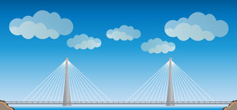 Two cable suspension Bridge with Nature  Landscape Background. Vector Illustration Royalty Free Stock Photos