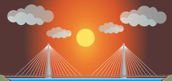 Two cable suspension Bridge with Nature  Landscape Background. Vector Illustration Stock Photo