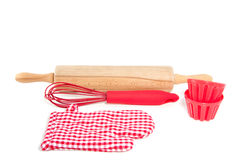 Two cake molds with kitchen tools Royalty Free Stock Photography