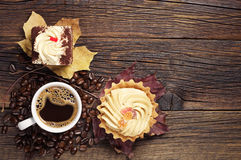 Two cakes and coffee cup Royalty Free Stock Photo
