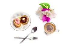 Two cakes and a cup of coffee Royalty Free Stock Image