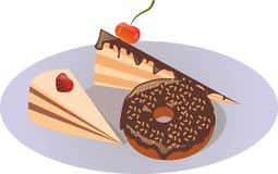 Two cakes and a donut on a plate. Two cute cakes with fruit and a donut with chocolate cream on a plate Stock Photos