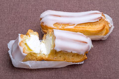 Two cakes eclair Stock Image
