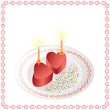 Two cakes in the form of heart with candles Royalty Free Stock Photo