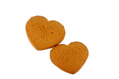 Two cakes in form hearts in a gift Stock Photography