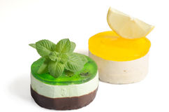Two cakes with lemon and mint Stock Images