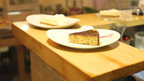 Two cakes ready to be served stock footage