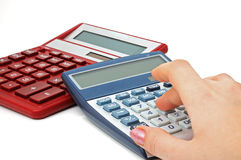 Two calculators Stock Photo