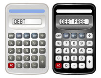 Two Calculators (Debt and Debt Free). Two different colored calculators are isolated on a white background Stock Photos