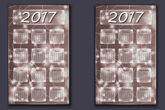 Two calendars with abstract bokeh background in 2017 year Royalty Free Stock Photos