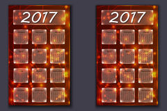 Two calendars with abstract bokeh background in 2017 year Stock Photography