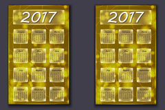 Two calendars with abstract bokeh background in 2017 year Stock Image