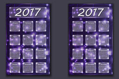 Two calendars with abstract bokeh background in 2017 year Stock Photos