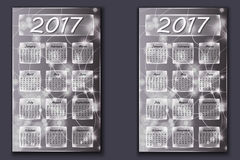 two calendars with abstract bokeh background in 2017 year Royalty Free Stock Image