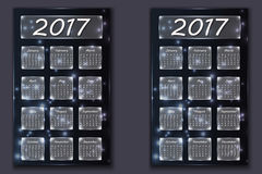 two calendars with abstract bokeh background in 2017 year Stock Images