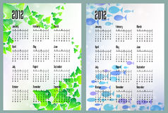 Two calendars with leaves and sea. Fish Stock Illustration