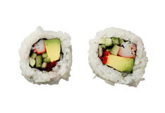 Free Two California Rolls Sushi Isolated On White Background Top View Royalty Free Stock Images - 37618079