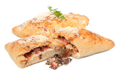 Two Calzone Pizzas Isolated Stock Images