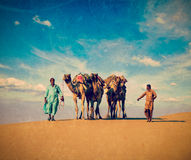 Two cameleers in dunes of Thar deser. Vintage retro hipster style travel image of Rajasthan travel background - two Indian cameleers (camel drivers) with camels Royalty Free Stock Photography