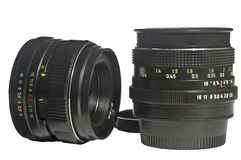 Two camera lens Stock Images