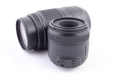 Two camera lenses,  over white Royalty Free Stock Photo
