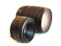 Camera lenses  on white Stock Photo
