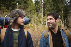 Two camping buddies. Two happy campers in the woods Stock Photo