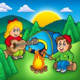 Two camping kids. Color illustration Stock Photo