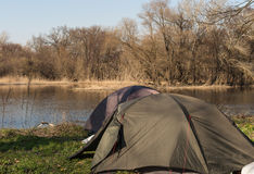 Two camping tents on the bank of the Seversky Donets River. Springtime Royalty Free Stock Image