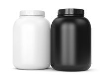 Two can of bodybuilding supplements Stock Photos