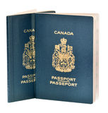 Two Canadian passports on white Stock Image