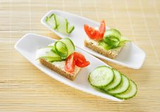 Two Canapes on plate Royalty Free Stock Photography