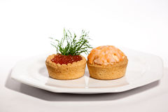 Two canapes on white Stock Image