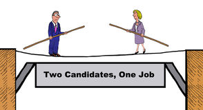 Two candidates, one job. Business illustration showing two people facing each other on a tightrope, 'Two candidates, one job vector illustration