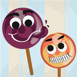 Two candies with faces Stock Photo