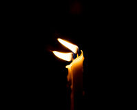 Two candle flame at night closeup Stock Photos