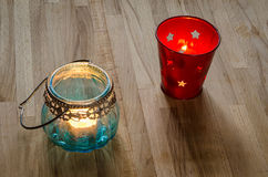 Two candle lanterns Stock Photo