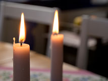 Two candle lights Stock Images