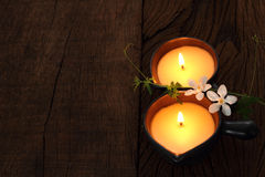 Two candle for massage. stock image