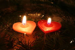 Two Candles 04. Two Love Shaped Candles Stock Photo