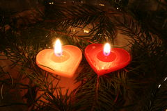 Two Candles 06. Two lightened Love Candles Stock Image