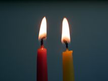 Two candles. Royalty Free Stock Images
