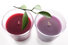 Two candles. Beautiful candles and green leaves Royalty Free Stock Image