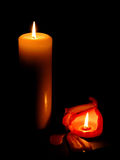 Two candles. In the dark Stock Photography