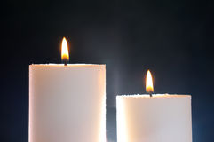 Two candles and aura. Two candles lit and aura Royalty Free Stock Image