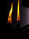 Two candles burning Royalty Free Stock Photo