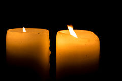 Two Candles Burning Royalty Free Stock Photos
