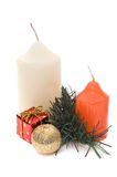 Two candles and christmas Stock Photography
