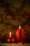 Two candles Christmas decoration Royalty Free Stock Images